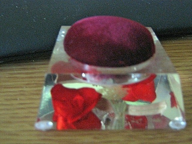 Hand Carved and Colored Genuine Bircraft Originals Encased Rose Pin Cushion  #301605