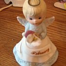 Vintage 1985 Lefton February Birthday Angel Figurine Made in Japan #301619