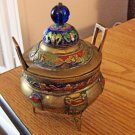 Decorated and Cloissone Painted Brass Footed Chinese Asian Cone Incense Burner  #301635