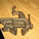 Antique Iron Bench Mounted Small Vise Clamp Tool #301611