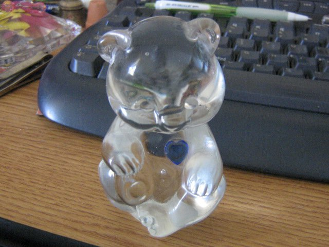 Fenton Clear Glass Bear Figurine Blue March Birthstone Heart #301614