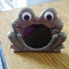 Adorable Pewter Big Eyed Sitting Frog Picture Frame #301639