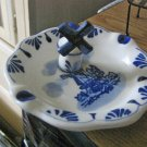 Vintage Handpainted Delft Blue Ashtray with Stand Up Windmill   #301656