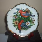 "7"" Collector's Plate Scarlet Tanager Birds Flowers Gold Trim #301678"