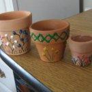 Three Small Terra Cotta Decorated Planter Pots #301726