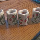 Four Small Porcelain Candleholders from Funny Designs West Germany Strawberry Pattern #301765