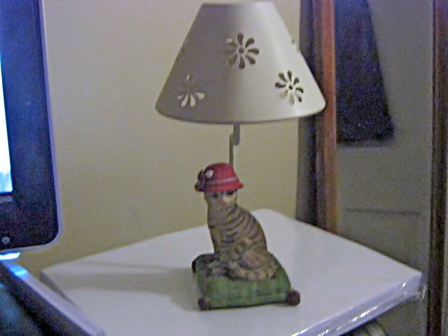Striped Lady Cat in a Hat Votive or Tea Light Candleholder with Shade #301771