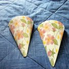 Two Vintage Decorative Cone White and Pink Floral Porcelain Wall Pockets  #301779