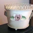 Beautiful Cream with Roses Metal Plant Holder Pot Container #301798