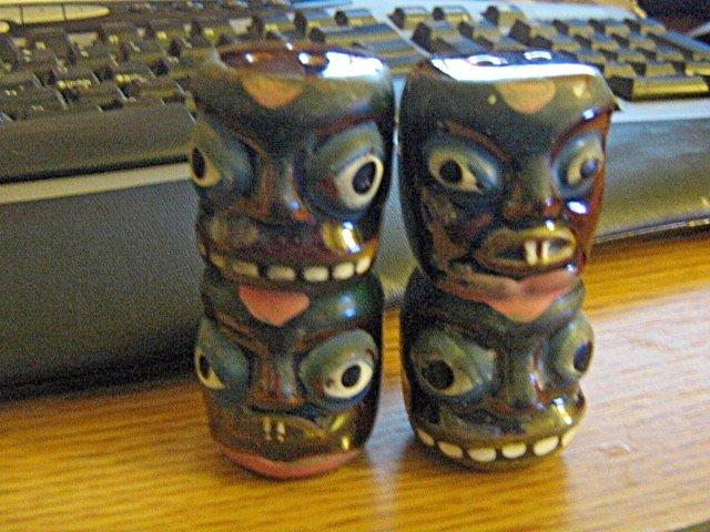 Tiki Porcelain Salt and Pepper Shakers #301935