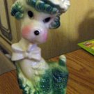 Vintage Lady Light Green and white Poodle Wearing Hat and Bow Tie #301905