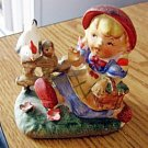 Vintage 1970s Country Girl with Basket & Chicken Figurine #301903