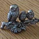 Miniature Three Pewter Owls Sitting on a Branch Figurine #301404