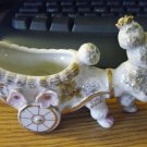 Vintage Empress White Porcelain  Poodle and Cart Figurine Planter #300846