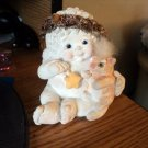 2004 Dreamsicles Cherub Holding A Cat and A Star Kristin Cast Art Figurine #301562