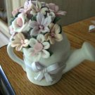 Enesco Small White Ceramic Watering Can Flower Pot Figurine  #301736