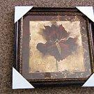 "10 1/2"" Framed Burgundy Iris Floral Painting Signed Richard A Hensen #301625"