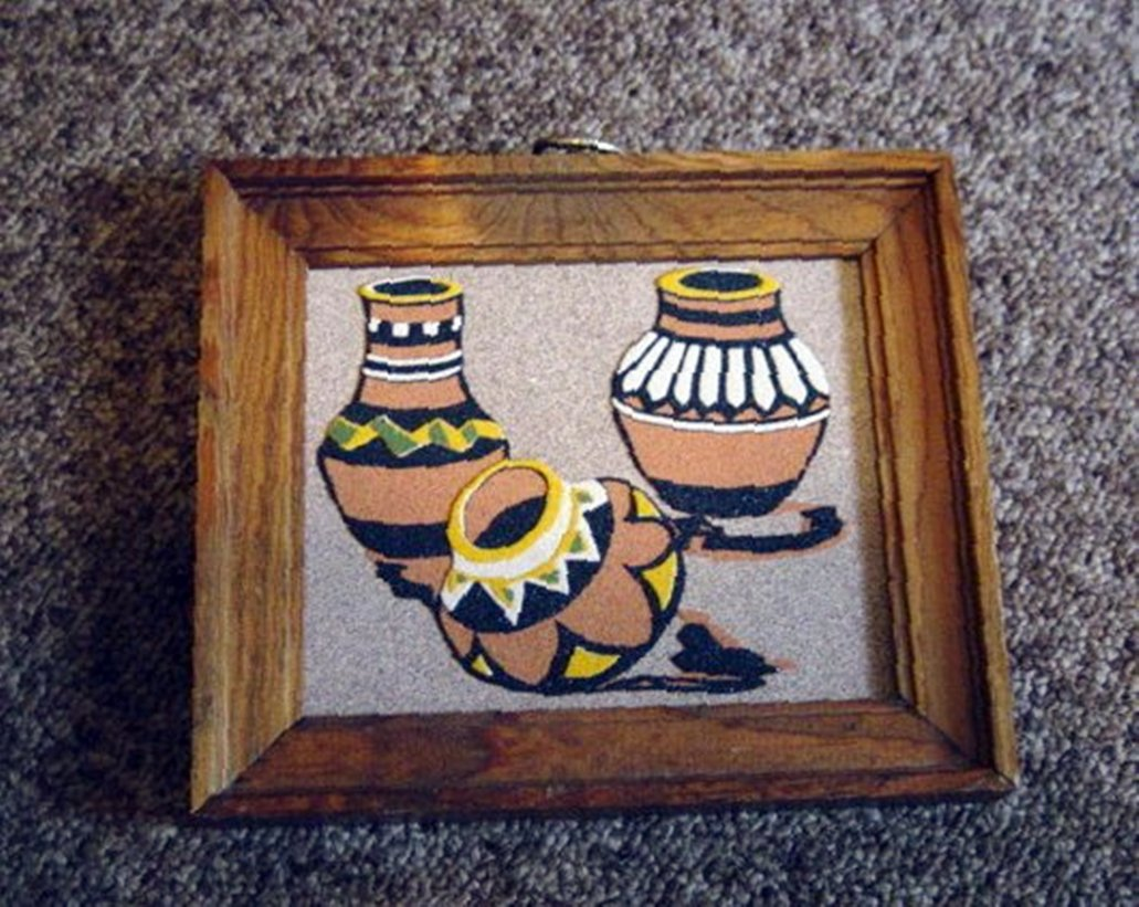 Navajo Sand Painting Yellow Black Brown And White Pots 301275