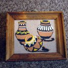Navajo Sand Painting Yellow black Brown and White Pots #301275