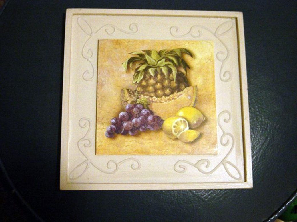8 Inch Square Wood Picture of Lemons, Melon Slice, Pineapple and Grapes #300593