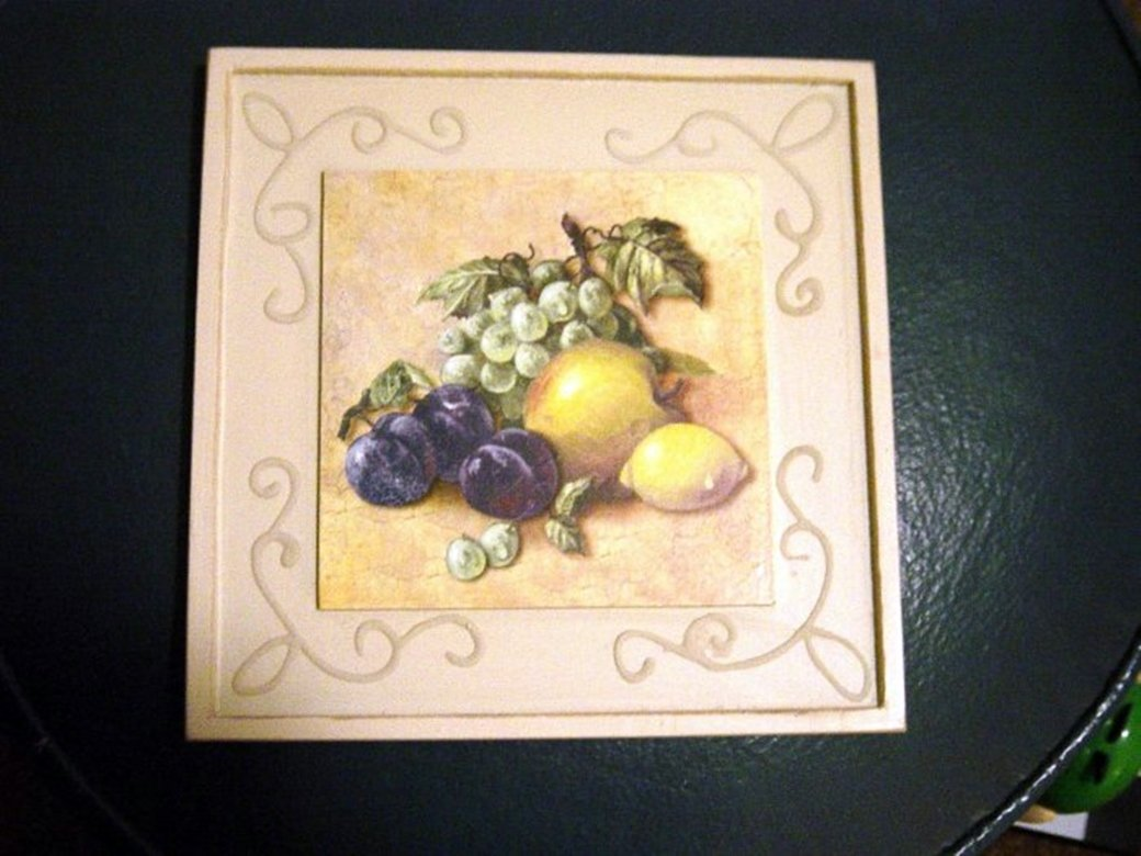 8 Inch Square Wood Picture of Lemons, Plums and Grapes #300593