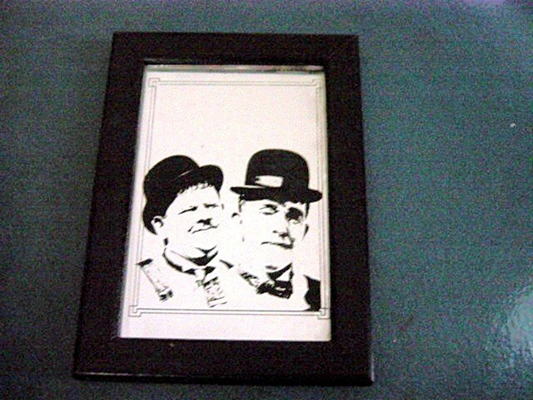 Hand Painted Portrait Picture of Laurel and Hardy on Glass Mirror #300001