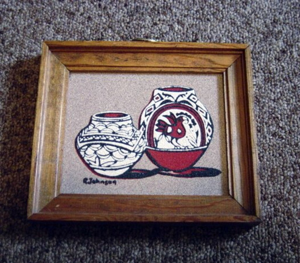 Navajo Sand Painting Red and White Pots with Crow Signed R. Johnson #301274