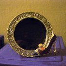 Round Brass Picture Frame with High Heel and Rhinestones  #300865