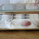 Beveled Glass and Etched Box with White Sand and Seashells  #301922