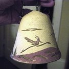 Large Hand Painted Southwestern Pottery Bell Windchime Birds and Desert   #301045