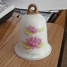 Lefton Hand Painted August Bell with Pink Lotus Flowers #301686