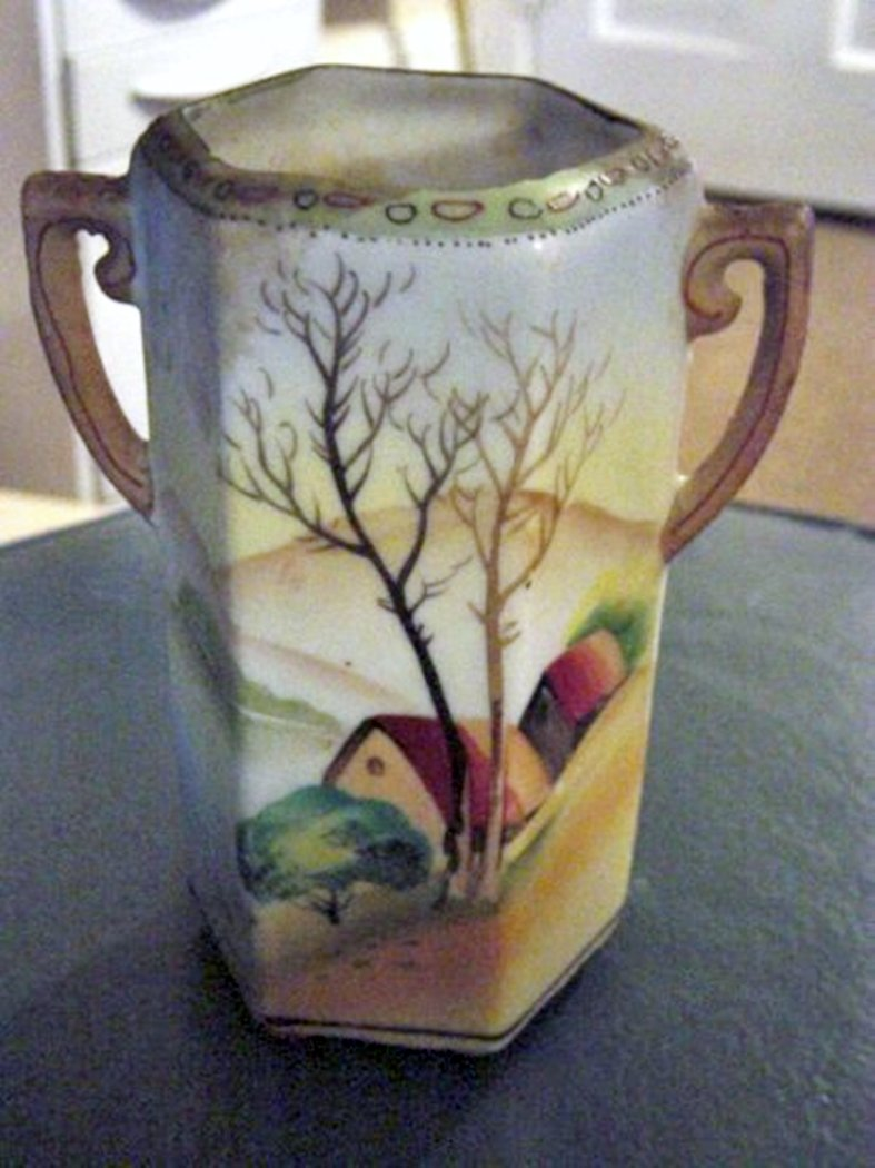 Hand Painted Vintage Nippon Two Handle Vase 300981