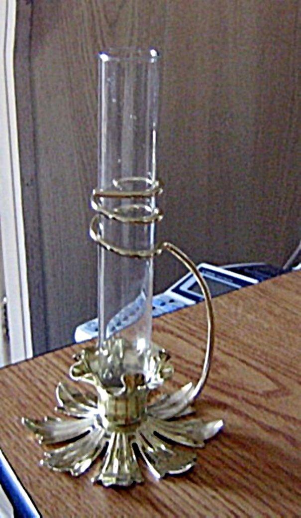 Modern Style Brass Flower Base and Glass Bud Vase  #301635