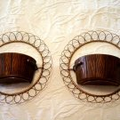 Pair of 1958 Vintage Treasure Craft Compton CA Round Wall Decor #300198