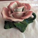 Pink Rose Ceramic Tapered Candleholder Made in Italy #301774