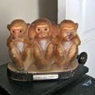 Rare Speak, See, Hear No Evil Ceramic Monkeys Bank Figurine  #301716