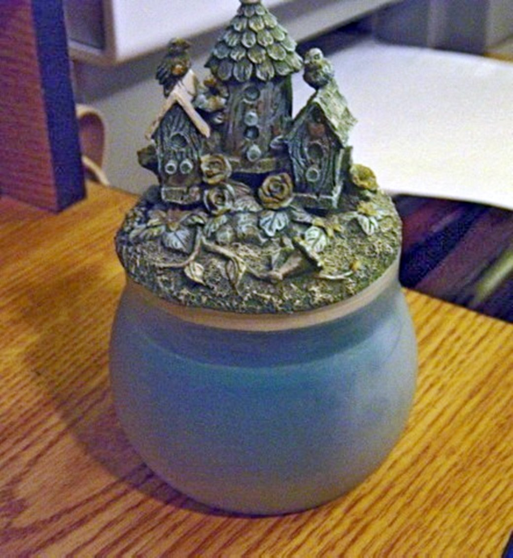 Light Turquoise Candle Jar with Birdhouses and Birds Topper #301355