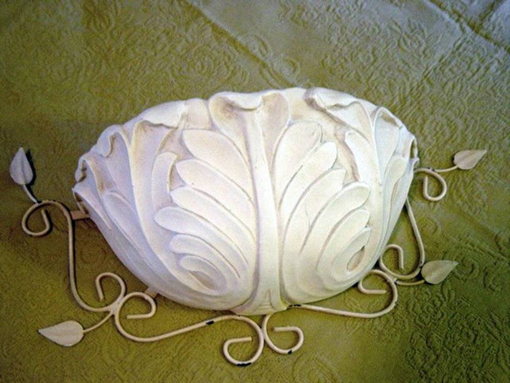 Beautiful Large Decorative Metal and Plaster Cream Wall Pocket   #300831