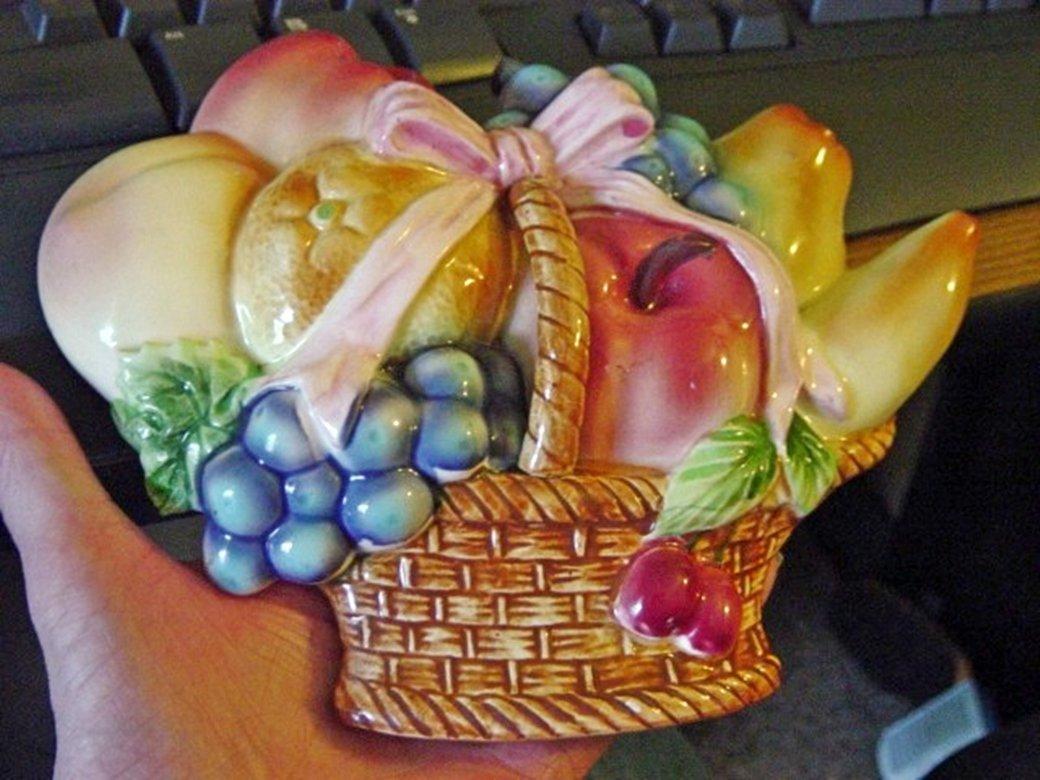Fruit Basket Wall Sculpture Plaque Home Decor #301619