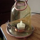 "5 1/2"" Vintage Glass and Copper or Brass Bell Lantern Candleholder #301687"