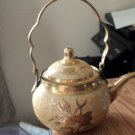 Asian Vintage Cloisonne Tea Pot Teapot Bronze Brass Enamel  #302015