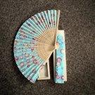 Folding Hand Fan Linen Chinese Classical Floral Fan Asian Oriental Wood Box #302061