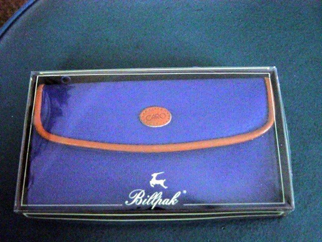 Blue and Brown Vinyl Billpak Caro Billfold NIB #302079