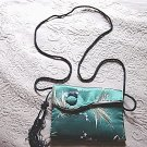 Vintage Asian Green Silk Small Shoulder Bag Purse Clutch #302087