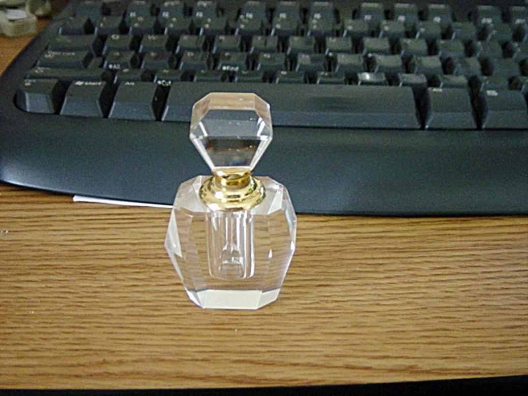 Art Deco Crystal Clear Perfume Bottle  #302099