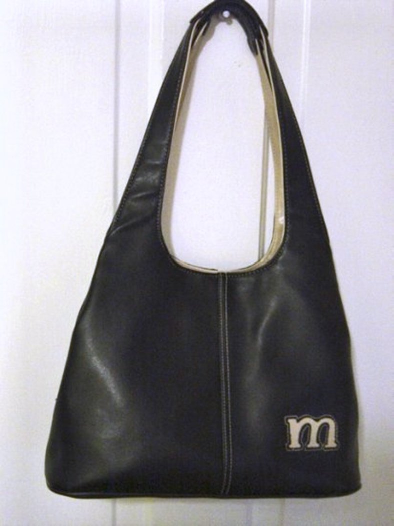 Woman's Black Hobo Handbag Beige Trim and Initial M #302132