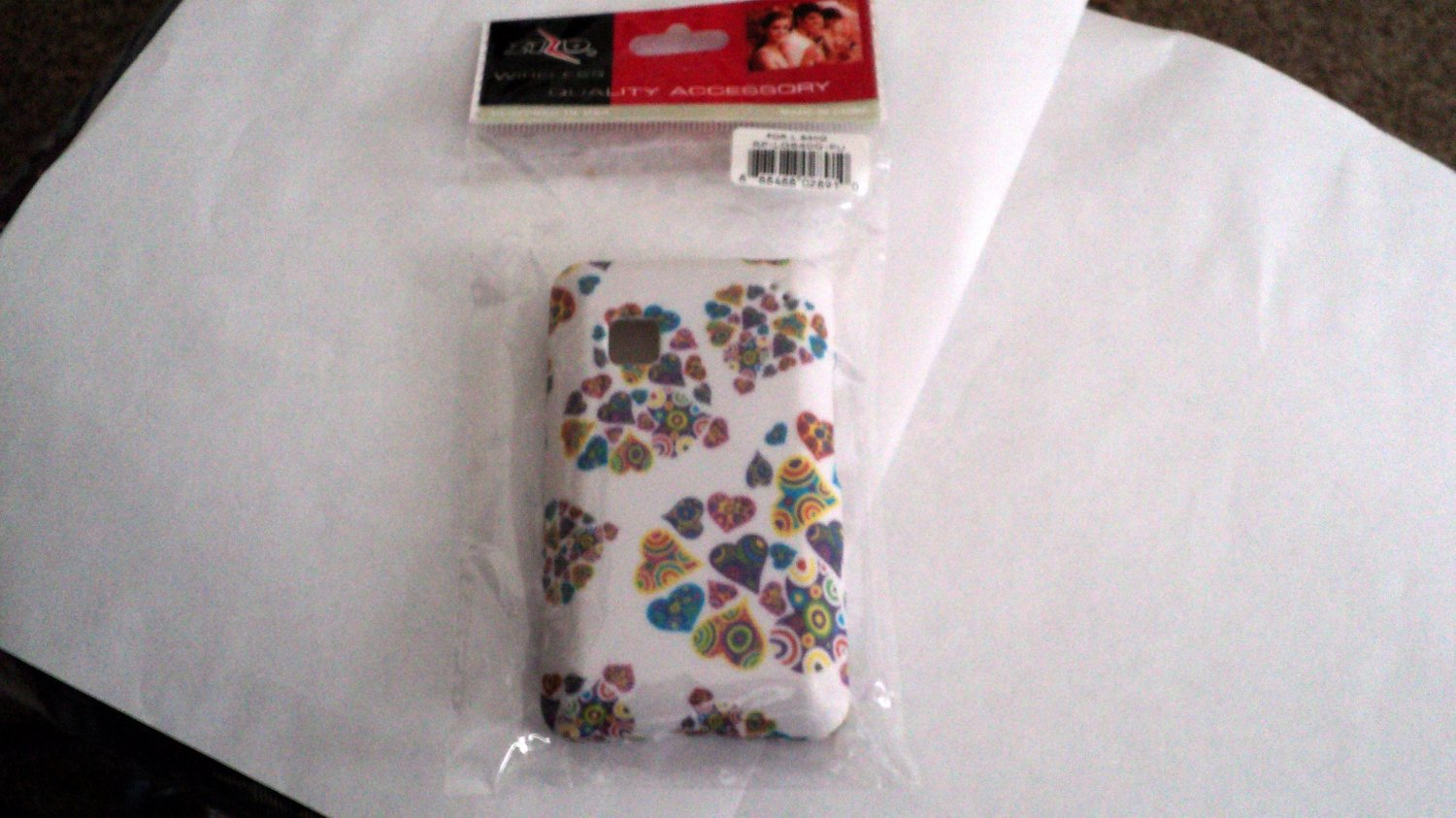 Colorful Hearts Style Texture Accessory Hard Case Cover For Tracfone LG 840G #302143