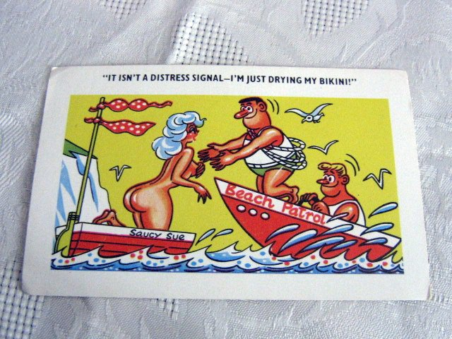 Vintage Naughty British English risque comic cartoon Unused Giggle Postcard #302150