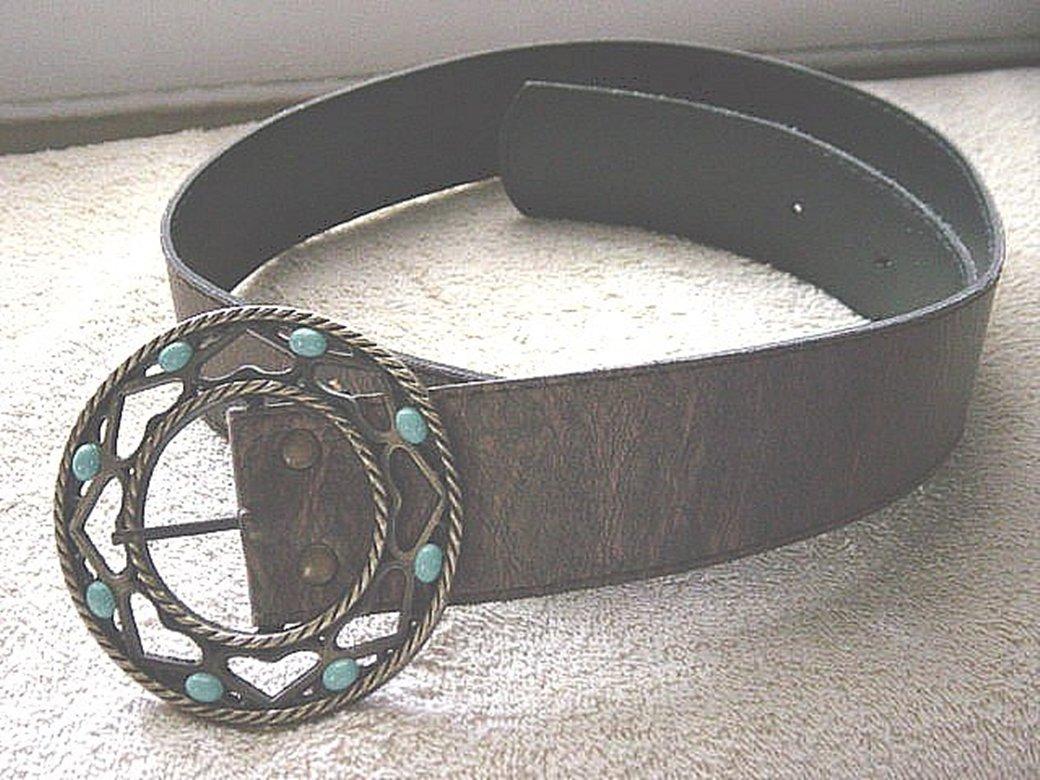 Bronzed Leather or Vinyl Belt Circle Brass Buckle #302157