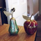 2 Brass Hand Painted Fruit Pear and Apple #301318